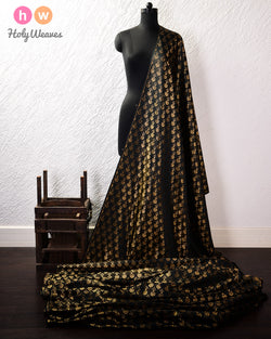 Black Banarasi Satin Tissue Brocade Woven Art Silk Fabric- HolyWeaves
