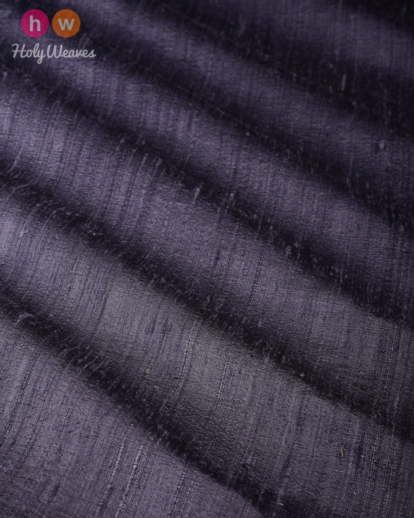 Steel Gray Plain Handwoven Raw Silk Fabric - HolyWeaves