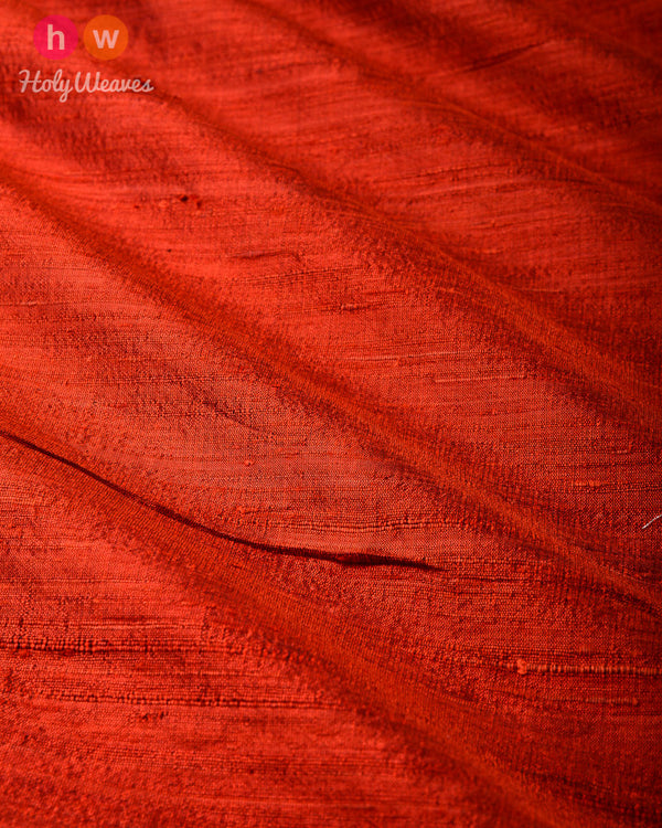 Rust Plain Handwoven Raw Silk Fabric- HolyWeaves
