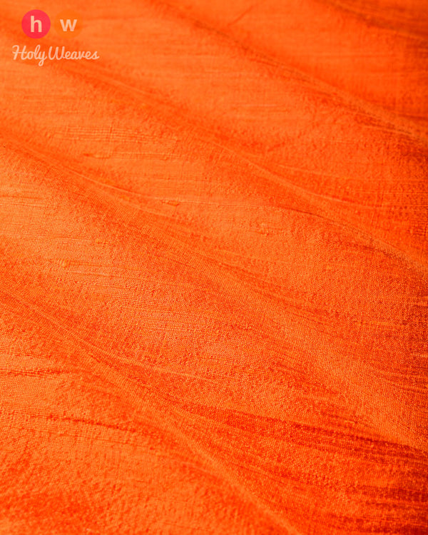 Orange Plain Handwoven Raw Silk Fabric- HolyWeaves