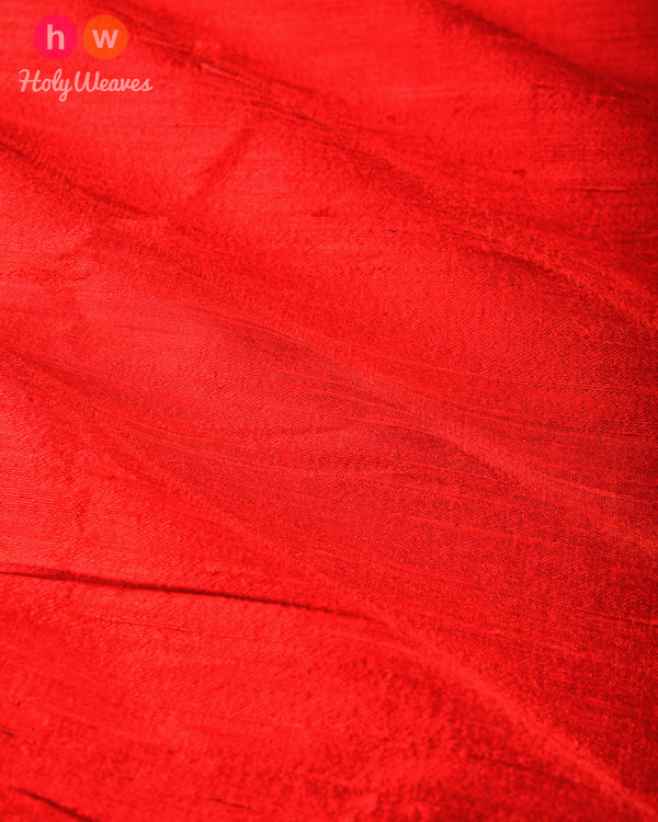 Red Plain Handwoven Raw Silk Fabric- HolyWeaves