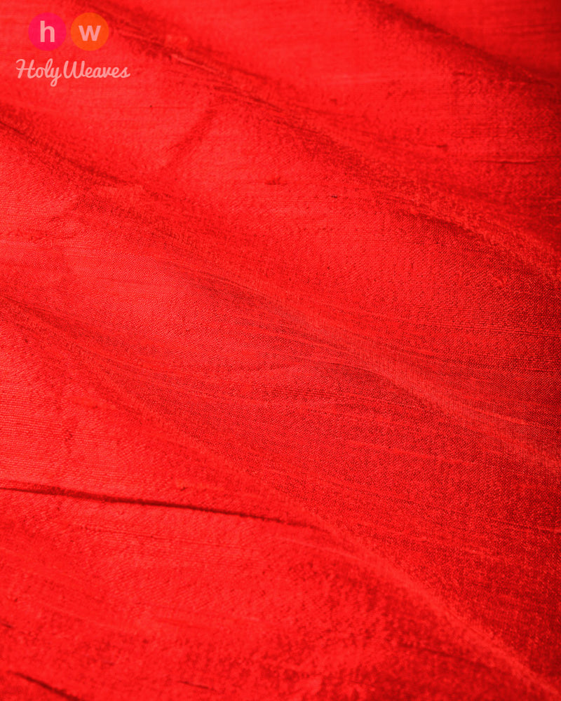 Red Plain Handwoven Raw Silk Fabric - HolyWeaves