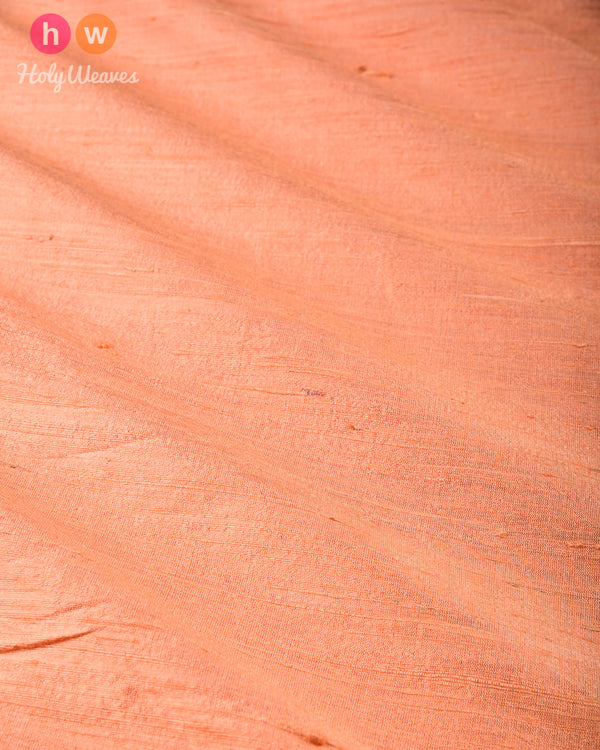Peach Plain Handwoven Raw Silk Fabric - HolyWeaves
