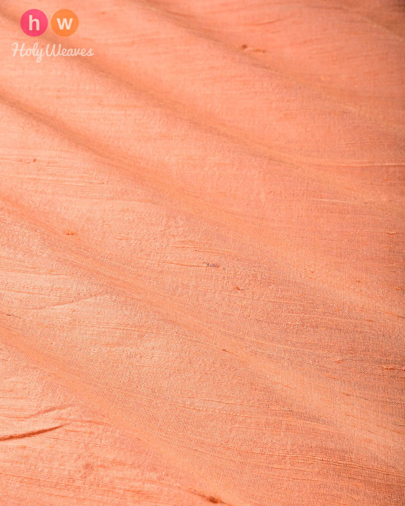 Peach Plain Handwoven Raw Silk Fabric- HolyWeaves