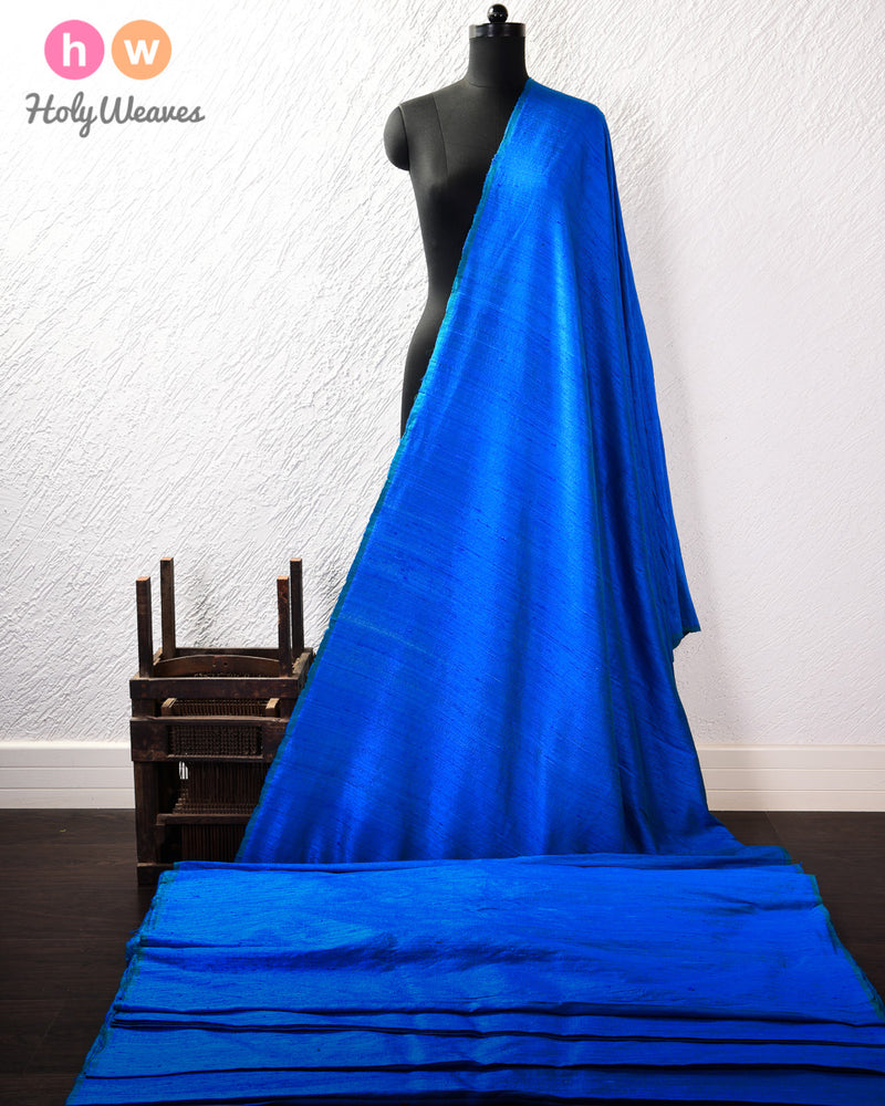 Blue Plain Handwoven Raw Silk Fabric- HolyWeaves