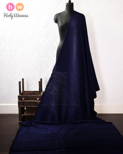 Navy Blue Plain Handwoven Raw Silk Fabric- HolyWeaves