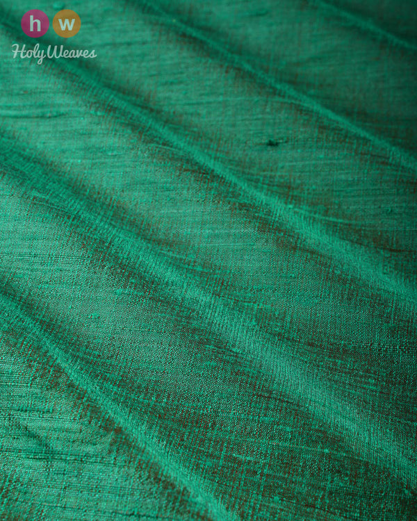 Green-Red Dual Tone Plain Handwoven Raw Silk Fabric- HolyWeaves