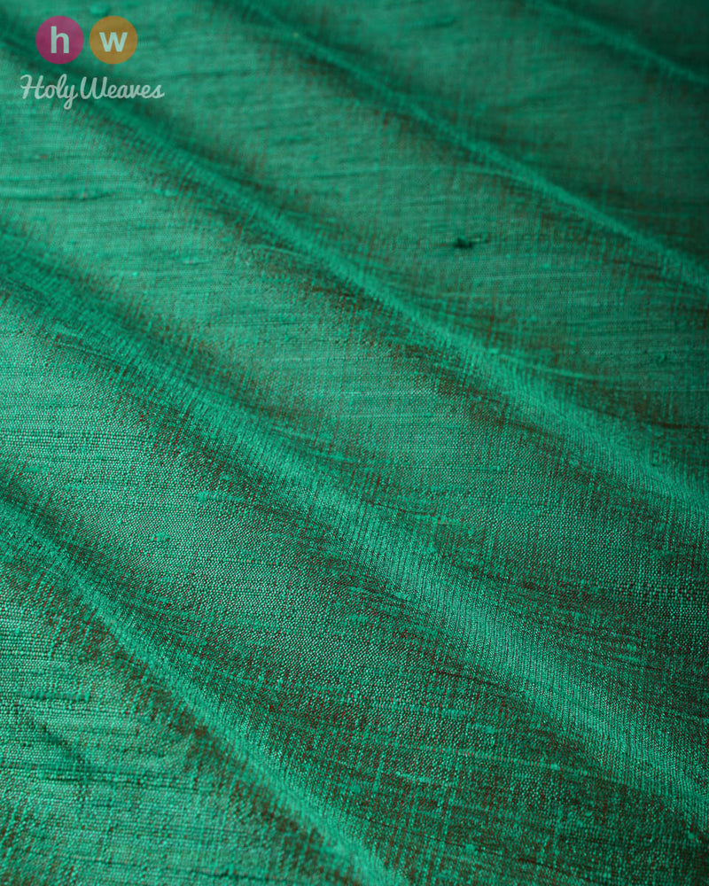 Green-Red Dual Tone Plain Handwoven Raw Silk Fabric - HolyWeaves
