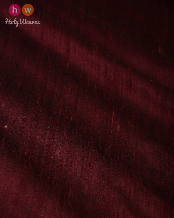 Mahogany Brown Plain Handwoven Raw Silk Fabric- HolyWeaves