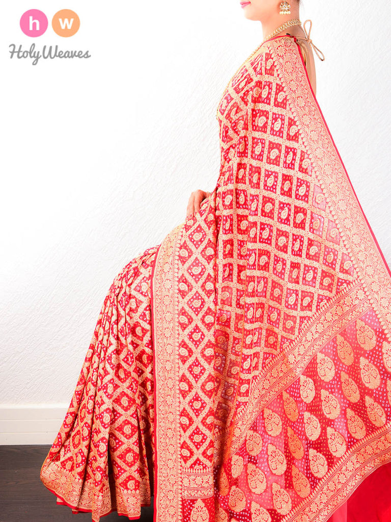 Red Banarasi Khaddi Bandhani Cutwork Brocade Handwoven Georgette Saree