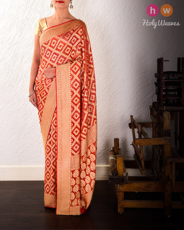 Red Banarasi Khaddi (खड्डी) Bandhej Cutwork Brocade Handwoven Georgette Saree