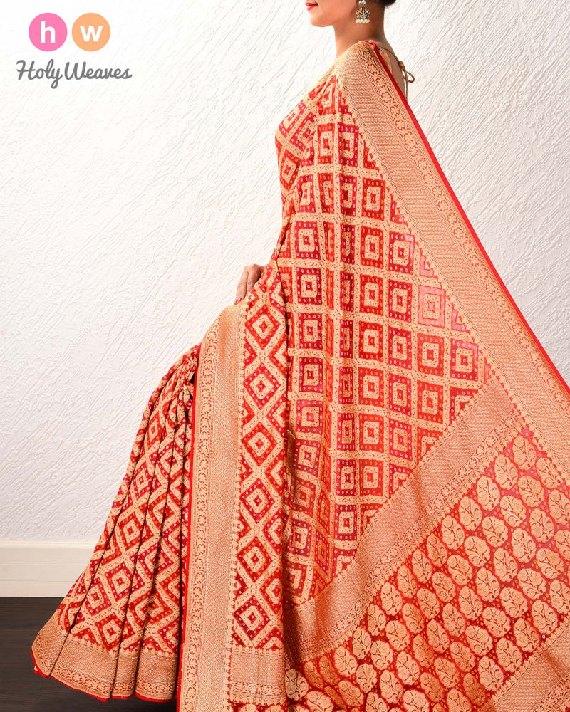 Red Banarasi Khaddi (खड्डी) Bandhej Cutwork Brocade Handwoven Georgette Saree - HolyWeaves