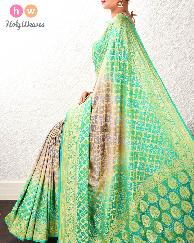 Green-Grey Banarasi Jaal Cutwork Brocade Handwoven Khaddi Georgette Saree with 2-color Bandhej