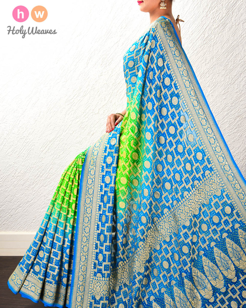 Blue-Green Banarasi Jaal Cutwork Brocade Handwoven Khaddi Georgette Saree with 2-color Bandhej