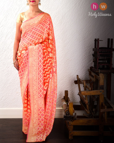 Peach-Orange Banarasi Jaal Cutwork Brocade Handwoven Khaddi Georgette Saree with 2-color Bandhej