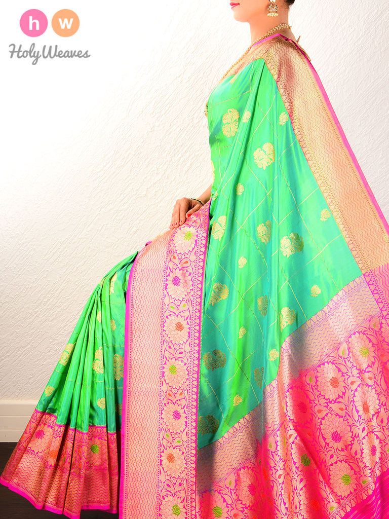 Green Kadhuan Brocade Handwoven Katan Silk Saree