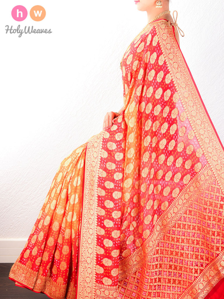 Red- Orange Banarasi Khaddi Bandhani Cutwork Brocade Handwoven Georgette Saree