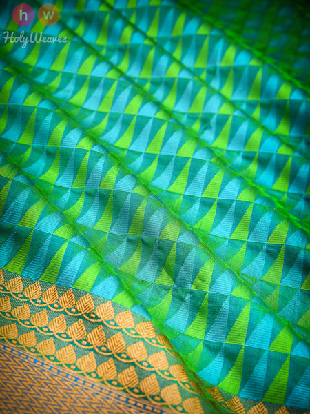 Green Cutwork Brocade Handwoven Katan Silk Saree