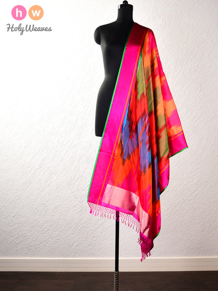 Red Vibgyor Ikat Handwoven Katan (कतान) Silk Dupatta