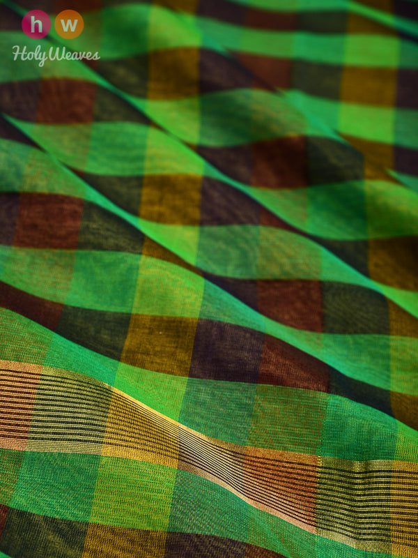 Multi-color Blocks Woven Poly Cotton Silk Dupatta- HolyWeaves