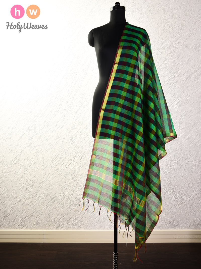Multi-color Blocks Woven Poly Cotton Silk Dupatta - HolyWeaves