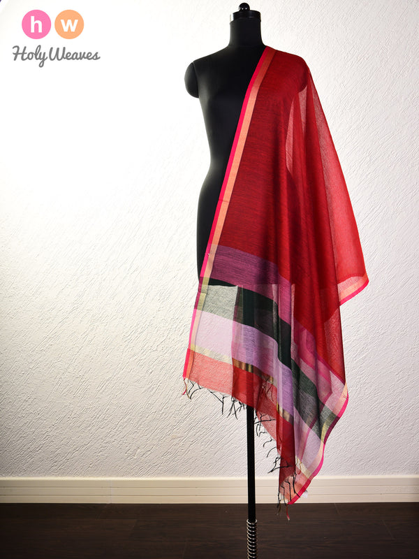 Red Woven Cotton Silk Dupatta - HolyWeaves