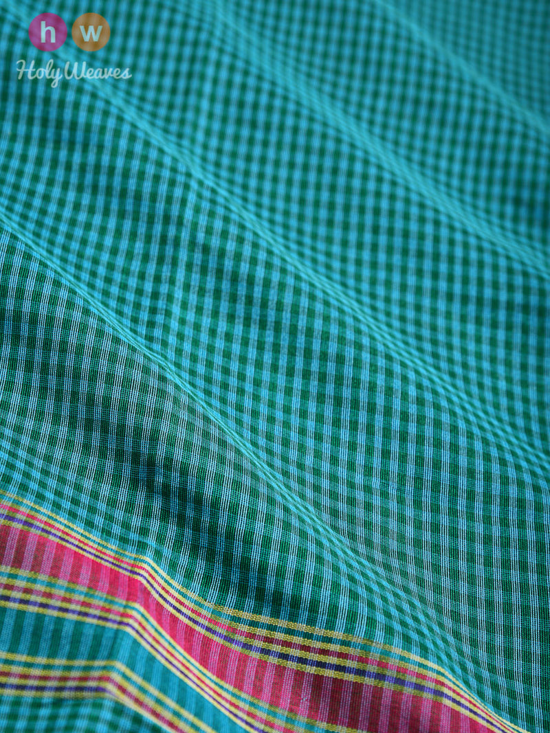 Green Gingham Checks Woven Poly Cotton Silk Dupatta - HolyWeaves