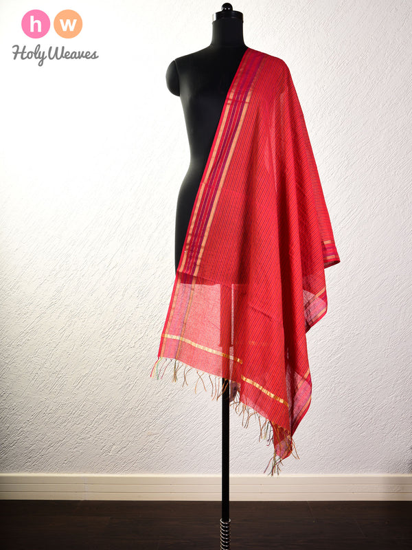 Red Gingham Stripes Woven Cotton Silk Dupatta- HolyWeaves