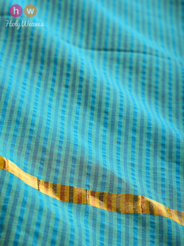 Green Gingham Stripes Woven Cotton Silk Dupatta - HolyWeaves