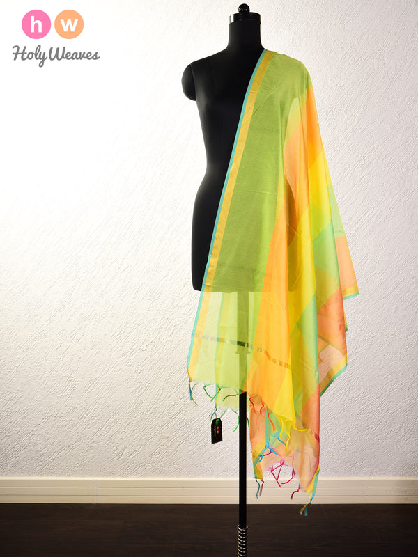 Multi-Yellow Woven Poly Cotton Silk Dupatta - HolyWeaves