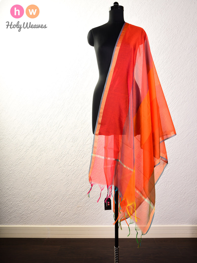 Multi-Orange Woven Poly Cotton Silk Dupatta - HolyWeaves
