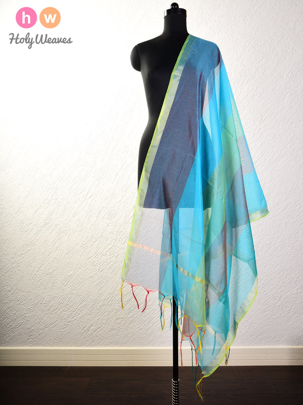 Multi-Blue Woven Poly Cotton Silk Dupatta - HolyWeaves