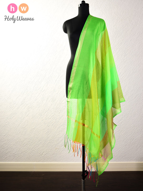 Multi-Green Woven Poly Cotton Silk Dupatta - HolyWeaves