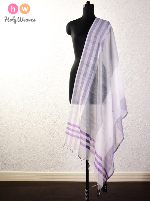 Grey-Purple Woven Cotton Silk Dupatta - HolyWeaves