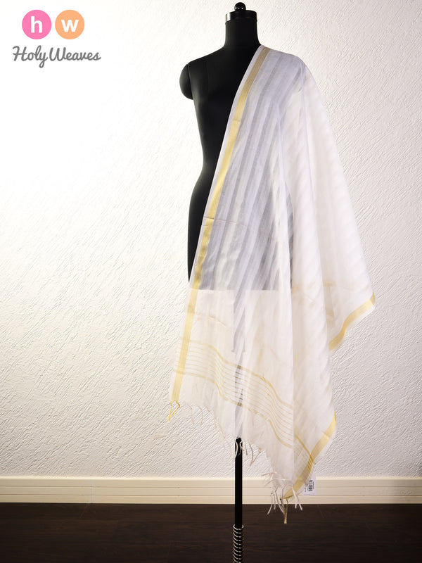 White Shadow Stripes Woven Poly Cotton Silk Dupatta - HolyWeaves