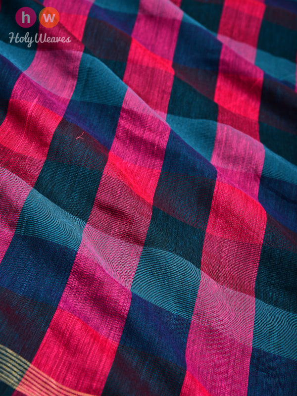 Pink-Green Gingham Checks Woven Poly Cotton Silk Dupatta - HolyWeaves