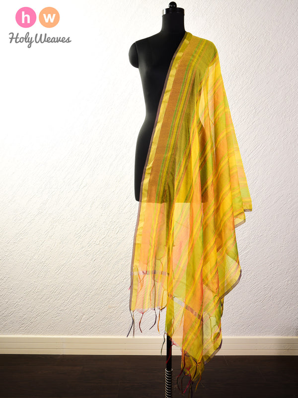 Yellow Zari Pin Stripes Woven Poly Cotton Silk Dupatta- HolyWeaves