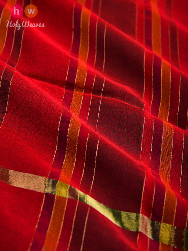 Red Zari Pin Stripes Woven Poly Cotton Silk Dupatta- HolyWeaves