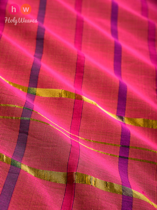 Pink Colored Stripes Woven Cotton Silk Dupatta - HolyWeaves