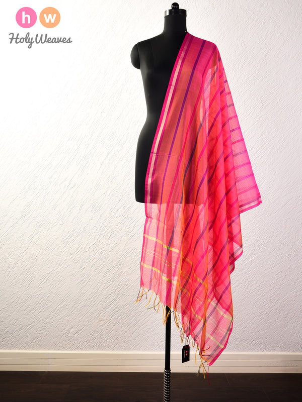 Pink Colored Stripes Woven Cotton Silk Dupatta- HolyWeaves