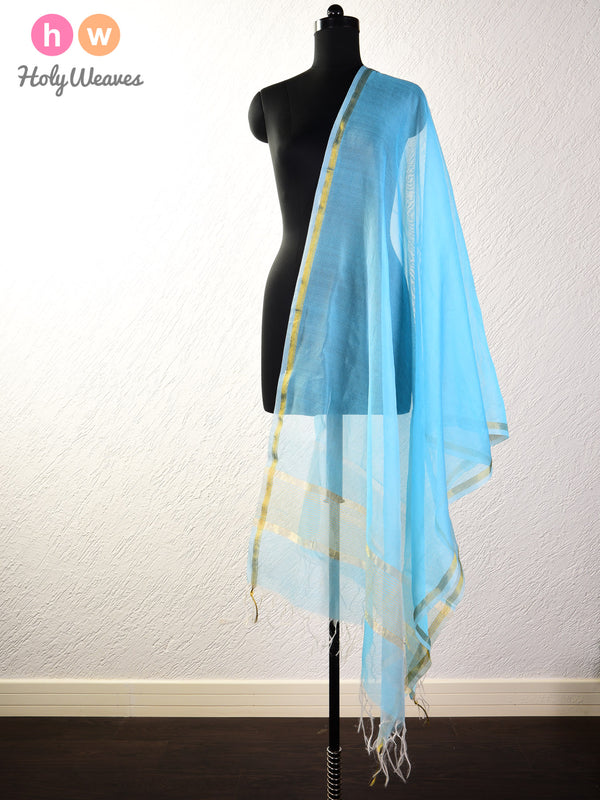 Cyan Blue Woven Poly Cotton Silk Dupatta - HolyWeaves