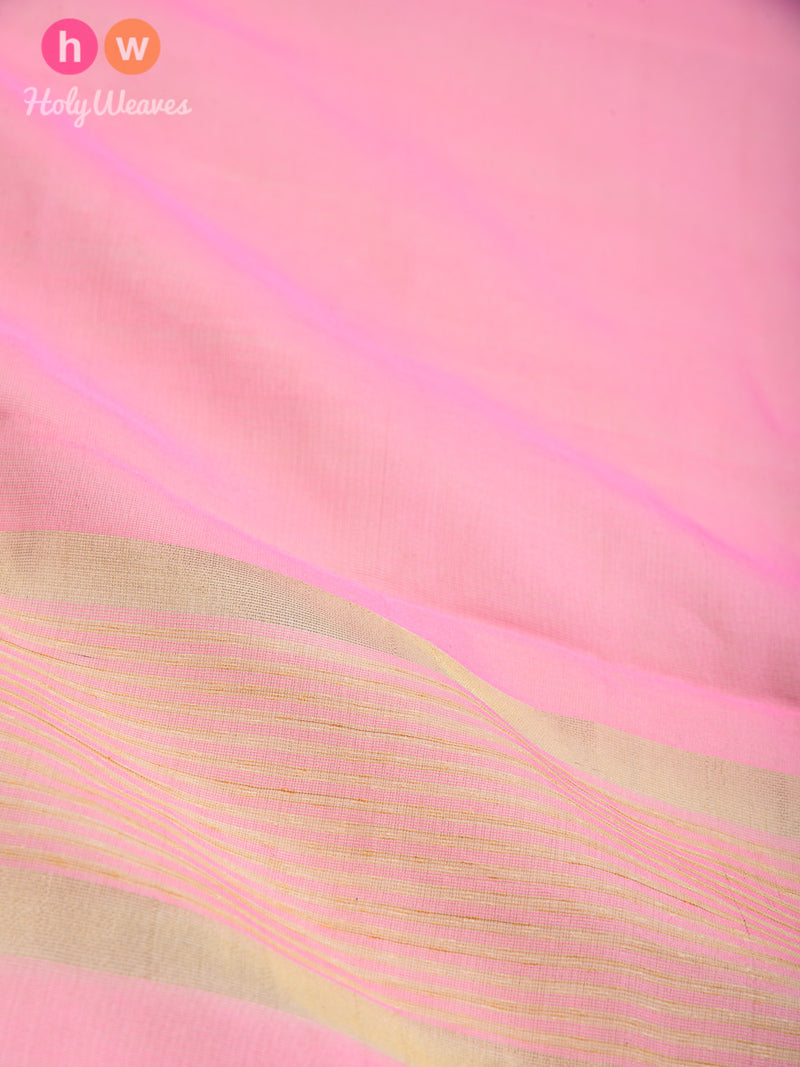 Rose Pink Woven Poly Cotton Silk Dupatta - HolyWeaves