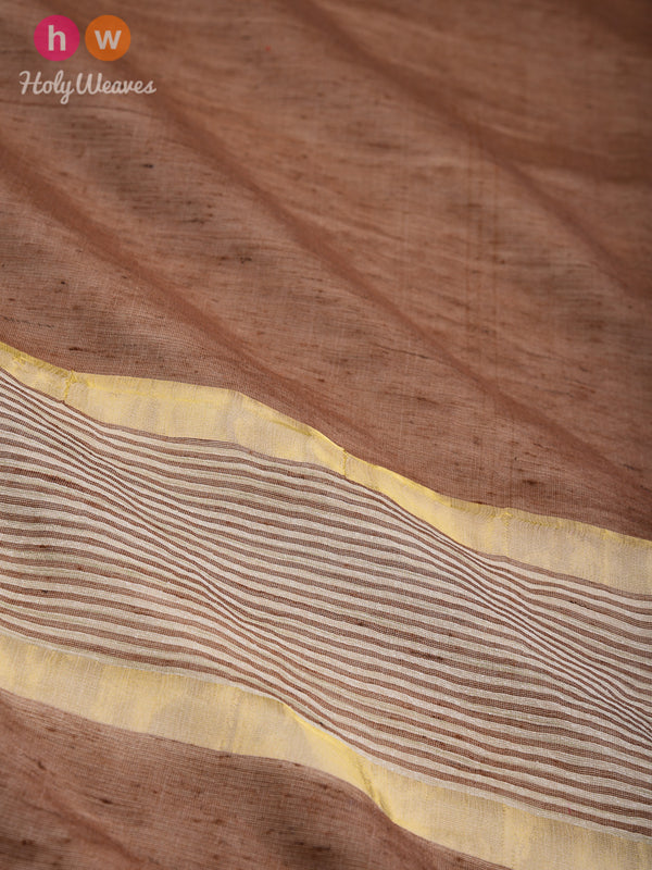 Beaver Brown Woven Poly Cotton Silk Dupatta- HolyWeaves