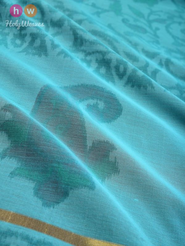 Teal Blue Ikat Woven Cotton Silk Dupatta - HolyWeaves