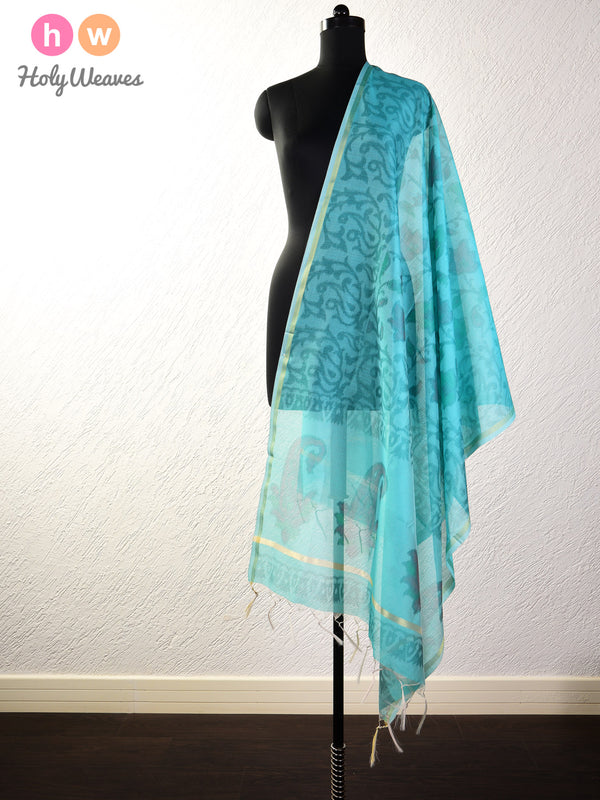 Teal Blue Ikat Woven Cotton Silk Dupatta- HolyWeaves