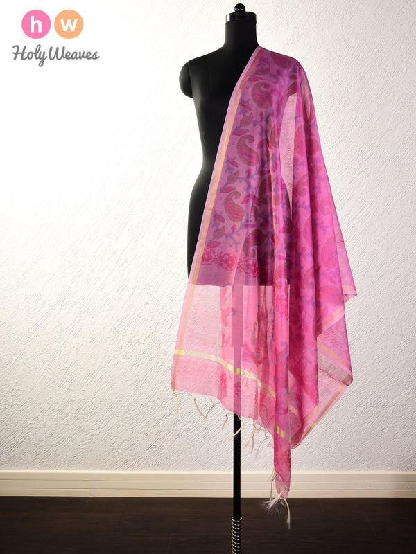 English Lavender Ikat Woven Cotton Silk Dupatta- HolyWeaves