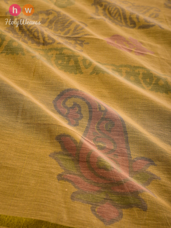 Dijon Yellow Ikat Woven Cotton Silk Dupatta - HolyWeaves