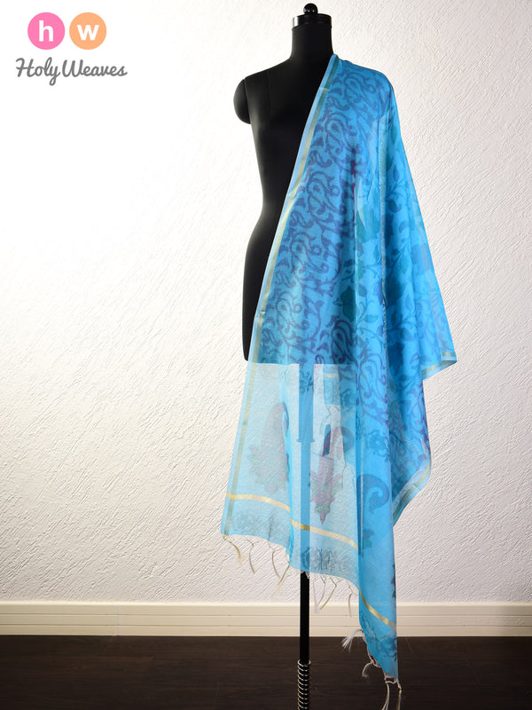 Blue Ikat Woven Cotton Silk Dupatta - HolyWeaves