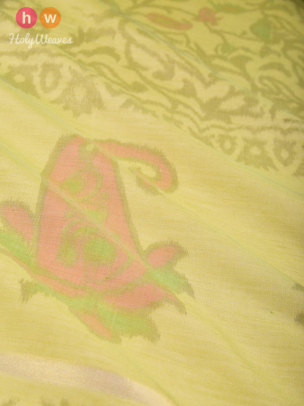 Green Ikat Woven Cotton Silk Dupatta- HolyWeaves