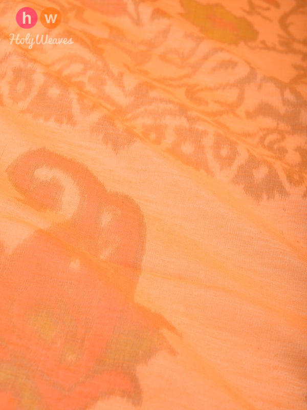 Orange Ikat Woven Cotton Silk Dupatta - HolyWeaves